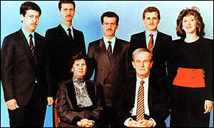 Family man: President Assad with his sons and daughter. Basil, centre, died in a car crash