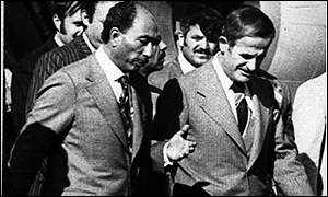 President Assad with Egyptian President Anwar Sadat in 1977