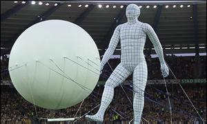 Inflatable man and ball