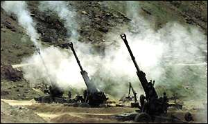 Mortar exchange during the Kargil conflict