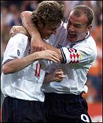 Shearer celebrates with McManaman