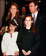 The Duke and Duchess of York with daughters Eugenie and Beatrice.