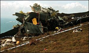 Chinook wreckage on the Mull of Kintyre