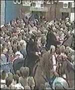 Police officers on horseback among the crowd at Hillsborough