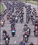 Hell's Angels form a two-wheeled procession along the A2 in Kent
