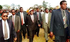 President Mugabe and body guards on campaign trail