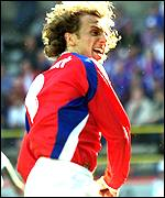 Karel Poborsky celebrates his goal for the Czechs