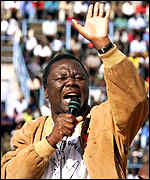 Morgan Tsvangirai at the Harare rally