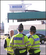 Police at the docks in Dover
