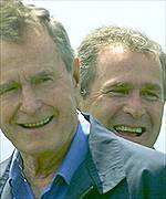 George Bush and son George W Bush