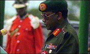 image: [ General Abacha: hopes of free and fair elections have been dashed ]