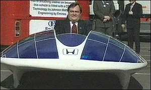 image: [ John Prescott enjoys the drive - until his abrupt halt ]