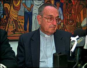 image: [ Bishop Juan Gerardi Conedera at a press conference a few days before his death ]