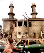 Burnt-out mosque