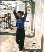 Palestinian boy with water bucket