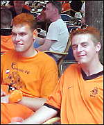 Dutch fans Dolf and Walter - with orange hair
