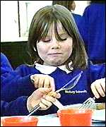 girl eating school meal