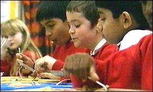 group of pupils eating school meals
