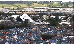 Glastonbury from the Radio 1 web cam. Packed site: The view from BBC Radio ...