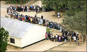 Line of voters