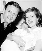 David Tomlinson with wife Audrey and baby William