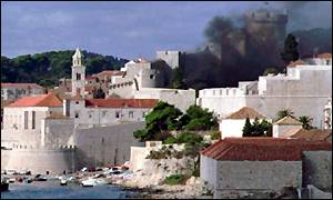 Dubrovnik under fire in 1991 Croatia/Yugoslavian war