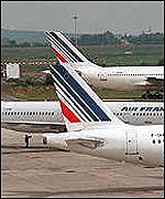 Air France planes grounded in June 2000 during a 24-hour strike by French air traffic controllers
