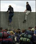 Fence-jumpers at Glastonbury