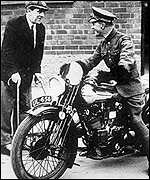 TE Lawrence on a motorcycle