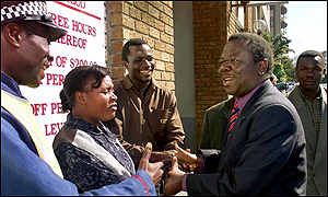 Opposition leader Morgan Tsvangirai congratulated by voters