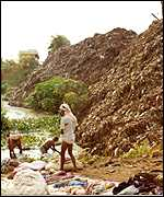 Riverside rubbish moutains near the holy city of Benaras