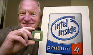 Intel chief executive Craig Barrett holding the Pentium 4 processor