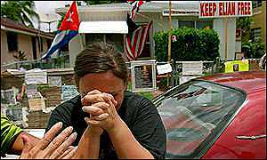 Supporter of Elian's Miami relatives, cries upon hearing he is to return home