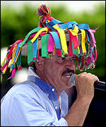 Vicente Fox wearing colourful hat