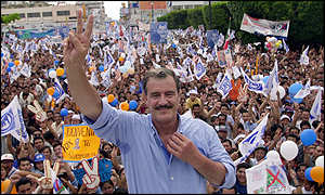 Vicente Fox at a campaign rally