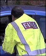 North Yorks firefighter lecturing motorist at roadside