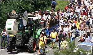 Tractor, defendants and supporters