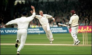 Andrew Caddick captures the prized wicket of Brian Lara