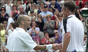 Andre Agassi and Todd Martin