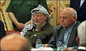 PLO chairman Yasser Arafat with parliamentary speaker Ahmad Qurai