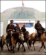 Mongolians on horseback