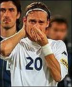Francesco Totti in tears of defeat