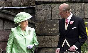 The Queen and Prince Philip at a garden party