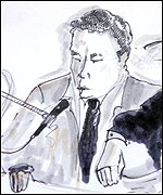 A court drawing of Mossad agent Isaac Bental