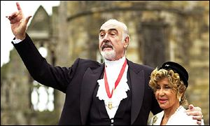 Sir Sean Connery and his wife Micheline after receiving his knighthood