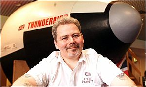 Steve Bennett with his Thunderbird rocket prototype