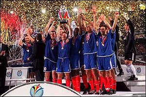 France celebrate victory in the Euro 2000 final