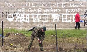 Grafitti proclaiming there will be no march on the Garvaghy Road