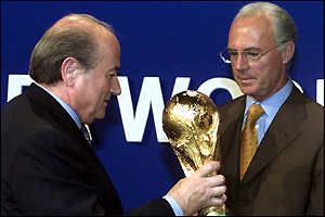 Fifa president Sepp Blatter (left) with Germany's Franz Beckenbauer