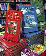 Harry Potter books on stand